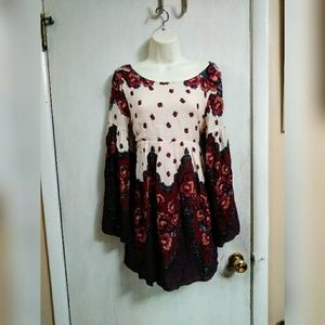 Free People bell sleeve floral tunic